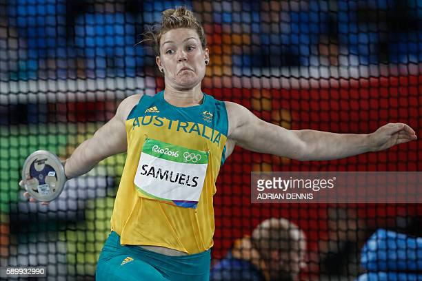 Australia's Dani Samuels competes in the Women's Discus Throw Qualifying Round during the athletics competition at the Rio 2016 Olympic Games at the...