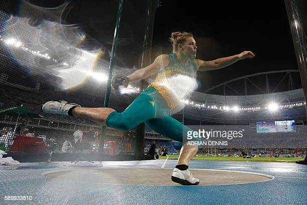 TOPSHOT Australia's Dani Samuels competes in the Women's Discus Throw Qualifying Round during the athletics competition at the Rio 2016 Olympic Games...