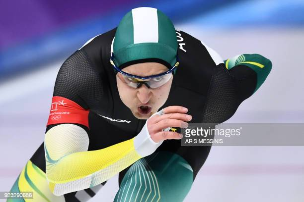 TOPSHOT Australia's Daniel Greig competes in the men's 1000m speed skating event during the Pyeongchang 2018 Winter Olympic Games at the Gangneung...