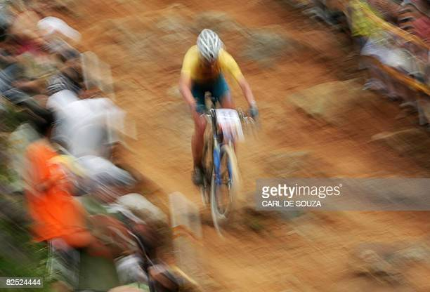 Australia's Daniel McConnell competes during the men's cross country mountain bike race of the 2008 Beijing Olympic Games on August 23 2008 at the...