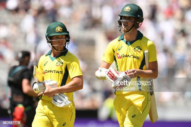 Australia's DArcy Short and Australia's Billy Stanlake leave the crease at the end of their innings during the fifth One Day International cricket...