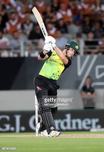Australia's D'Arcy Short bats during the final Twenty20 Tri Series international cricket match between New Zealand and Australia at Eden Park in...
