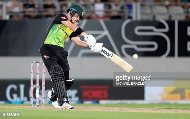 Australia's D'Arcy Short bats during the Twenty20 Tri Series international cricket match between New Zealand and Australia at Eden Park in Auckland...