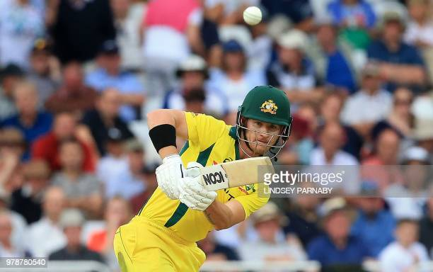 Australia's DArcy Short bats to lose his wicket for 15 during the third OneDay International cricket match between England and Australia at Trent...