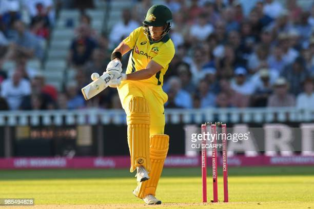 Australia's DArcy Short is caught playing this shot during the Twenty20 International cricket match between England and Australia at Edgbaston...