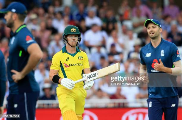 Australia's DArcy Short leaves the pitch after losing his wicket for 15 during the third OneDay International cricket match between England and...