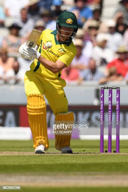 Australia's D'Arcy Short plays a shot during the fifth One Day International cricket match between England and Australia at Old Trafford cricket...