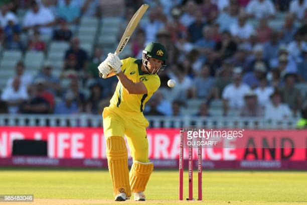 Australia's DArcy Short plays a shot during the Twenty20 International cricket match between England and Australia at Edgbaston cricket ground in...