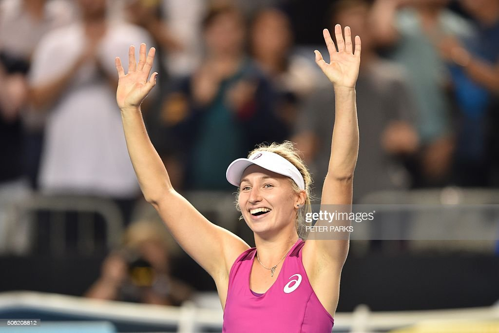 Australia's Daria Gavrilova celebrates her victory against France's Kristina Mladenovic during their women's singles match on day five of the 2016 Australian Open tennis tournament in Melbourne on January 22, 2016.