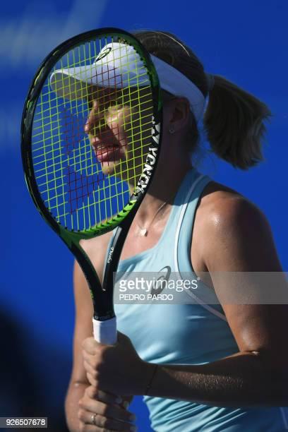 Australia's Daria Gavrilova pauses on the court during the Mexico WTA Open women's singles semifinal tennis match against Ukraine's Lesia Tsurenko in...