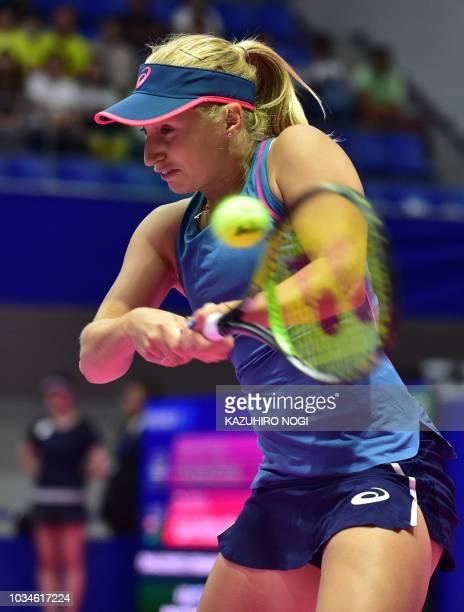 Australia's Daria Gavrilova returns a shot against Kristyna Pliskova of the Czech Republic during their women's singles first round match at the Pan...