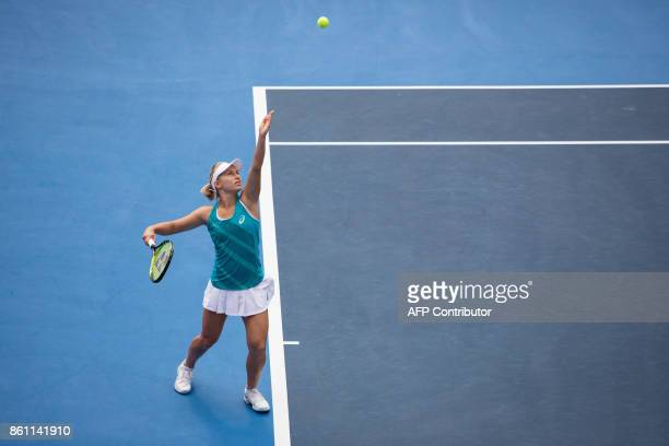 Australia's Daria Gavrilova serves against Jennifer Brady of the US during their women's singles semifinal match at the Hong Kong Open tennis...