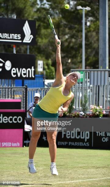 Australia's Daria Gavrilova serves against Ukraine's Marta Kostyuk during their women's singles Federation Cup tennis match in Canberra on February...