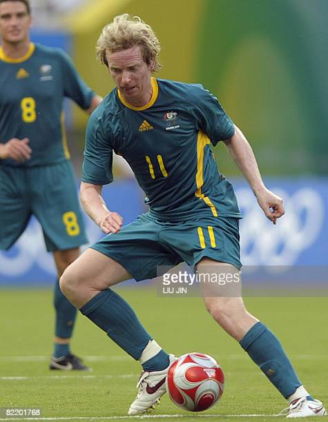 Australia's David Carney kicks a ball against Serbia during their 2008 Beijing Olympic Games first round Group A men's football match at the Shanghai...