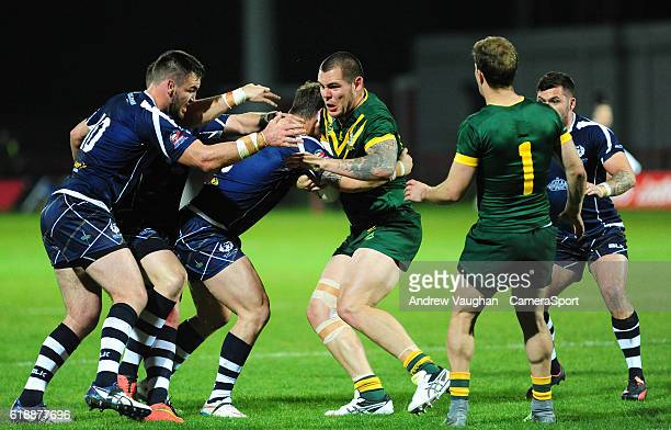 Australia's David Klemmer is stopped in his tracks during the Four Nations match between the Australian Kangaroos and Scotland at Lightstream Stadium...