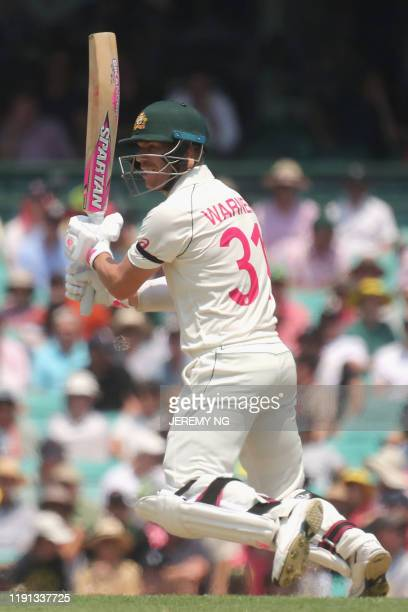Australia's David Warner bats during the first day of the third cricket Test match between Australia and New Zealand at the Sydney Cricket Ground in...
