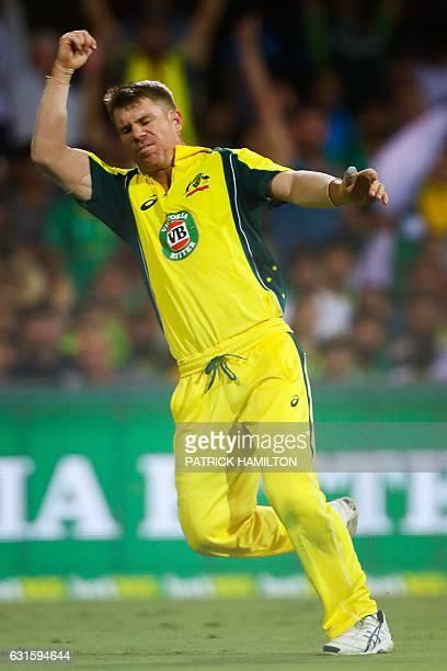Australia's David Warner celebrates a catch to dismiss Pakistan's Azhar Ali during the oneday international cricket match between Pakistan and...