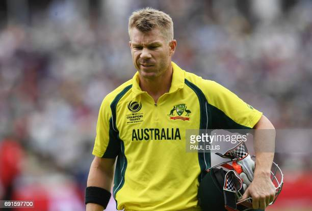 Australia's David Warner leaves the field for 18 runs during the ICC Champions Trophy match between Australia and New Zealand at Edgbaston in...