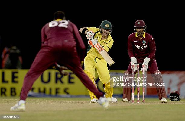 Australia's David Warner plays a shot during a Oneday International cricket match between the West Indies and Australia in the TriNation Series in...