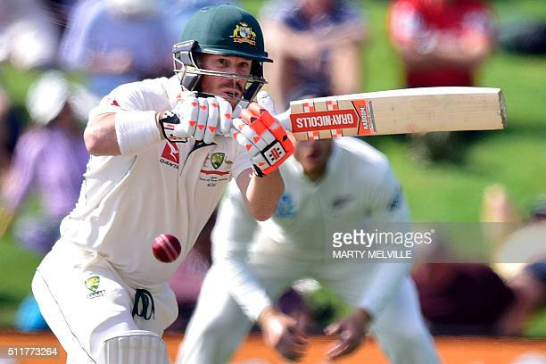 Australia's David Warner plays a shot during day four of the second cricket Test match between New Zealand and Australia at the Hagley Park in...