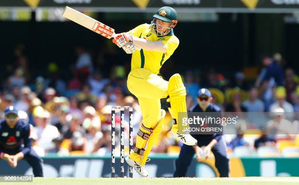 Australia's David Warner plays a shot during the 2nd oneday international cricket match between England and Australia in Brisbane on January 19 2018...