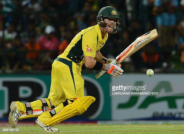 Australia's David Warner plays a shot during the fifth and final one day international cricket match between Sri Lanka and Australia at the Pallekele...