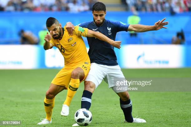 Australia's defender Aziz Behich vies with France's midfielder Nabil Fekir during the Russia 2018 World Cup Group C football match between France and...