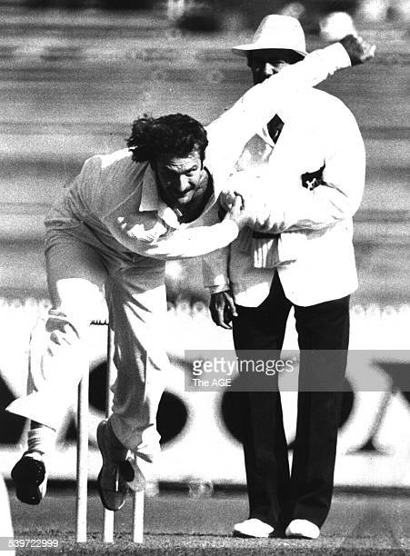 Australia's Dennis Lillee on the way to picking up Julien Wiener for a duck 15 November 1980 THE AGE Picture by RAY KENNEDY