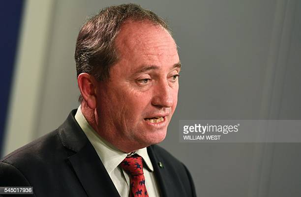 Australia's Deputy Prime Minister Barnaby Joyce addresses a press conference in Sydney on July 5 2016 Three days after polls closed the result is...
