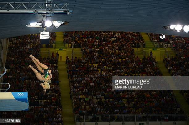 Australia's divers Rachel Bugg and Loudy Wiggins compete in the women's synchronised 10m platform final at the London 2012 Olympic Games in London,...