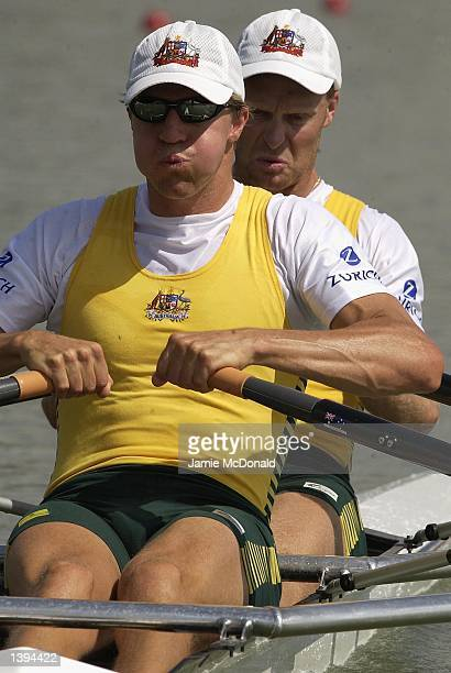 Australia's Double Sculls SemiFinal Craig Jones and Peter Hardcastle during the FISA Rowing World Championships in Seville Spain on September 19 2002