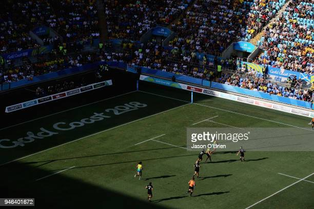 Australia's Ella Green runs with the ball against New Zealand in the Womens Final during Rugby Sevens on day 11 of the Gold Coast 2018 Commonwealth...