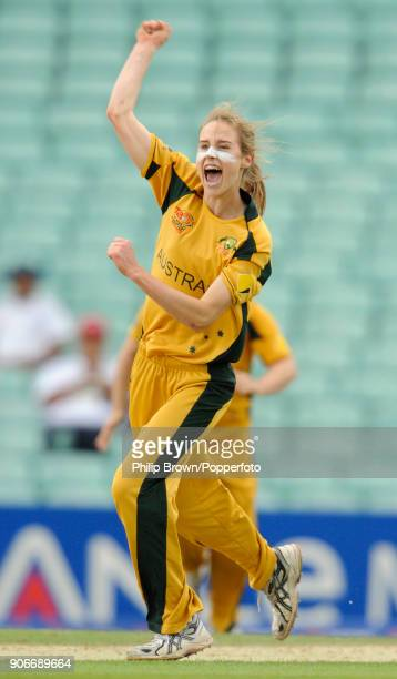 Australia's Ellyse Perry celebrates taking a wicket during the ICC Women's World Twenty20 Semi Final between England Women and Australia Women at The...
