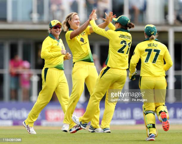 Australia's Ellyse Perry celebrates taking one of her seven wickets during the Third One Day International of the Women's Ashes Series at The...