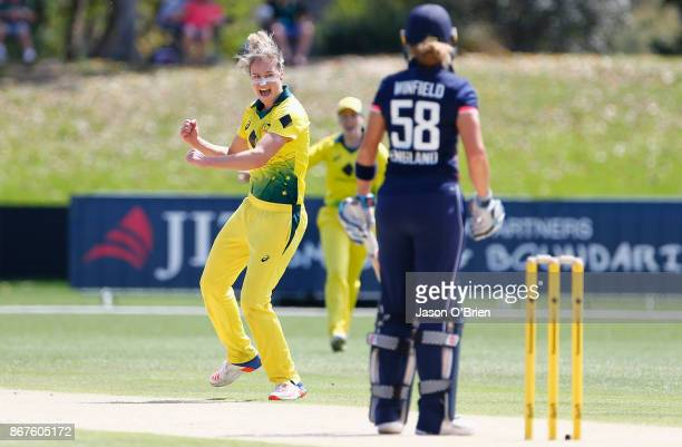 Australia's Ellyse Perry celebrates the wicket of England's Lauren Winfield during the Women's International One Day match between Australia and...