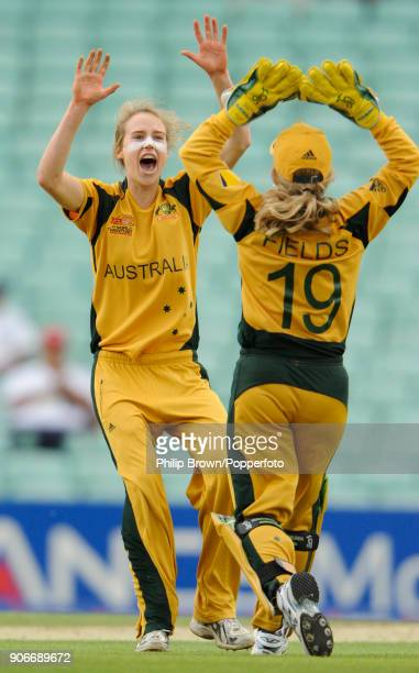 Australia's Ellyse Perry celebrates with wicketkeeper Jodie Field after taking a wicket during the ICC Women's World Twenty20 Semi Final between...