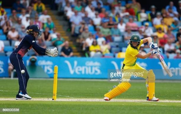 Australia's Ellyse Perry in action during the Women's One Day International match between Australia and England on October 26 2017 in Coffs Harbour...