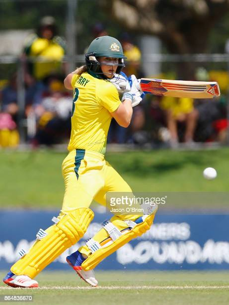Australia's Ellyse Perry plays a shot during the Women's One Day International between Australia and England at Allan Border Field on October 22 2017...
