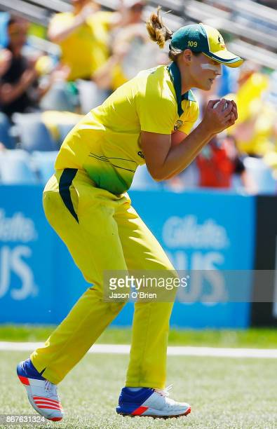 Australia's Ellyse Perry takes the catch to dismiss England's Katherine Brunt during the Women's International One Day match between Australia and...