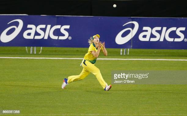 Australia's Ellyse Perry takes the catch to dismiss Fran Wilson during the Women's One Day International match between Australia and England on...
