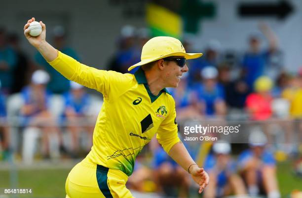Australia's Elyse Villani celebrates taking the catch to dismiss England's Nat Sciver during the Women's One Day International between Australia and...