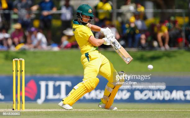 Australia's Elyse Villani plays a shot during the Women's One Day International between Australia and England at Allan Border Field on October 22...