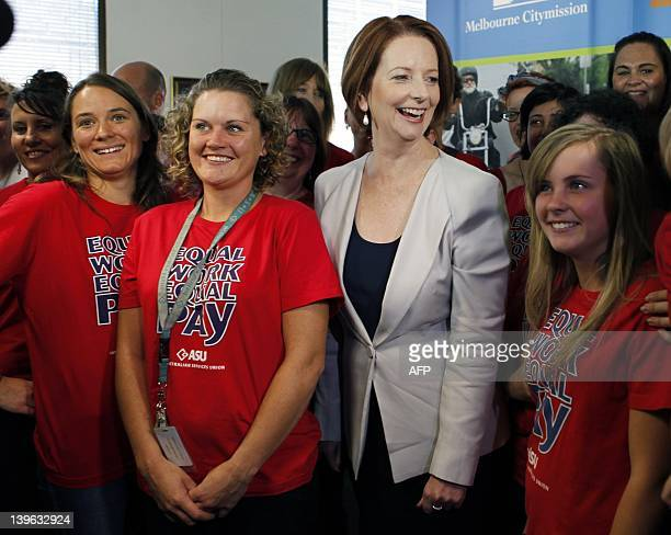 Australia's embattled Prime Minister Julia Gillard celebrates equal pay for women in Melbourne on February 24 2012 Gillard is expected to be...