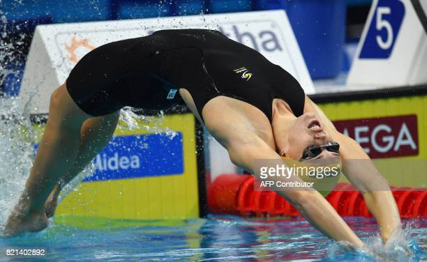 Australia's Emily Seebohm competes in a heat of the women's 100M Backstroke during the swimming competition at the 2017 FINA World Championships in...