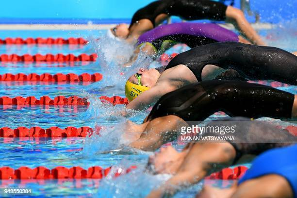 TOPSHOT Australia's Emily Seebohm competes in the swimming women's 50m backstroke qualification round during the 2018 Gold Coast Commonwealth Games...