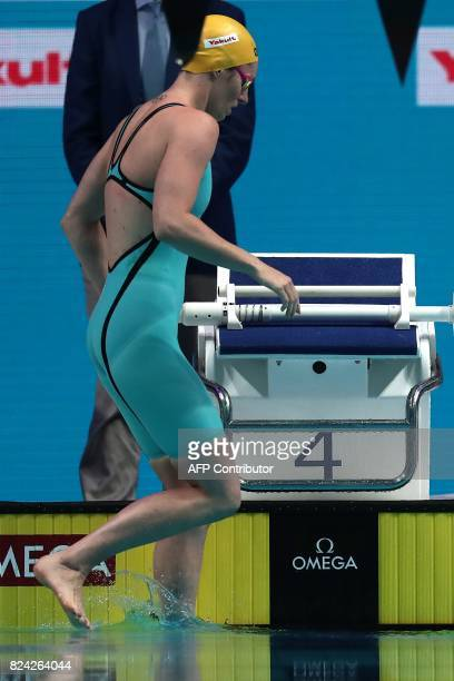 Australia's Emily Seebohm competes in the women's 200m backstroke final during the swimming competition at the 2017 FINA World Championships in...