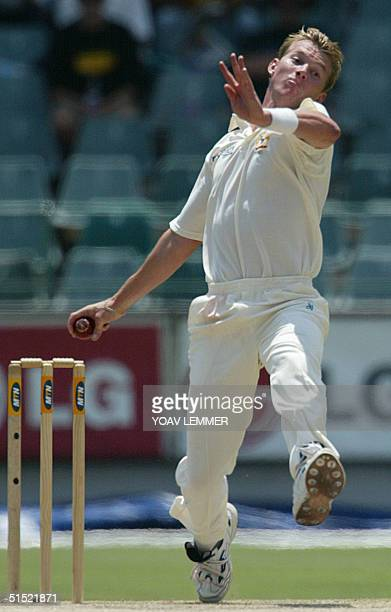 Australia's fast bowler Brett Lee releases the ball 24 February 2002, during the third day of the first Cricket test between South Africa and...