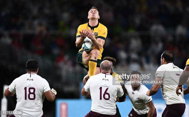 Australia's flanker Jack Dempsey jumps for the ball during the Japan 2019 Rugby World Cup Pool D match between Australia and Georgia at the Shizuoka...