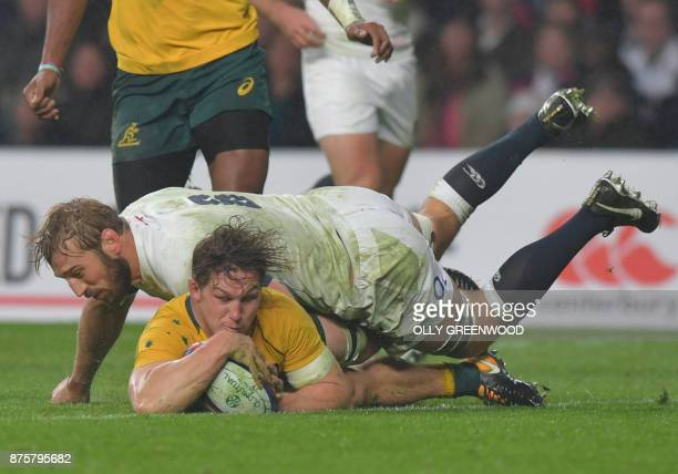 Australia's flanker Michael Hooper has this try disallowed during the international rugby union test match between England and Australia at...