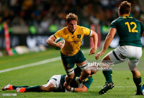 Australia's flanker Michael Hooper vies for the ball during the Rugby Championship match between South Africa and Australia at Nelson Mandela Bay...